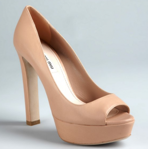 Miu Miu nude leather peep toe
