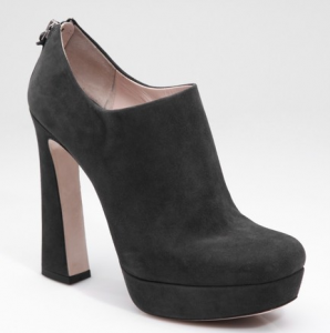 Miu Miu grey suede flared heel ankle boot