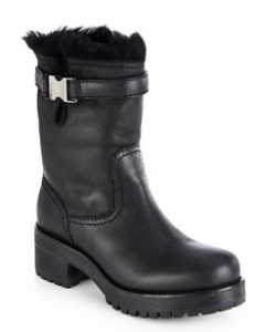 Prada mid length fur boot
